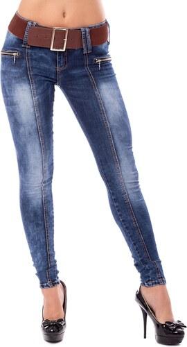 V V Dámské slim jeans s páskem - tmavě modré (26) - Glami.cz 078fbb2323