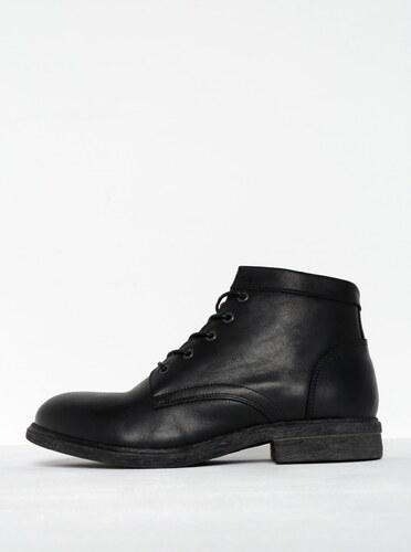 Čierne pánske kožené členkové topánky so zipsom Selected Homme Trevor a4114609d1c