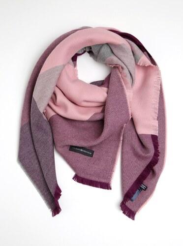db6905ba00fe Sivo-ružový dámsky šál s prímesou vlny Tommy Hilfiger Blanket - Glami.sk