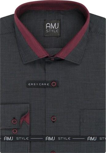 bb906df0efa Pánská košile AMJ černá tečkovaná VDPZ925