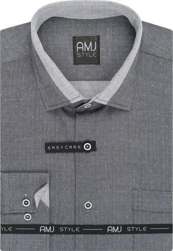 Pánská košile AMJ šedá síťovaná VDSZ938 ae7491ca71
