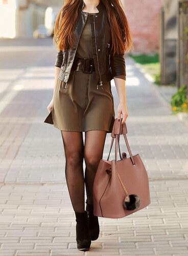 LS Fashion moderná hnedá dámska Hobo kabelka s kožušinovou výzdobou ... 4414a7a4958