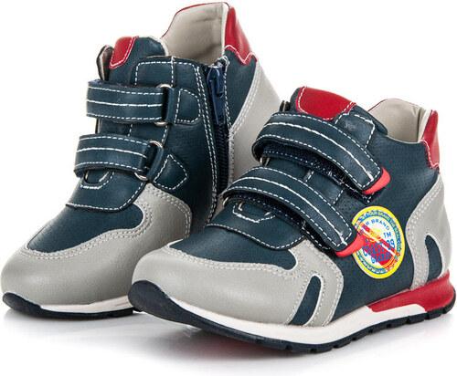 8b370e9b02b6a AMERICAN CLUB Pohodlné šedo-modré detské členkové topánky na suchý zips