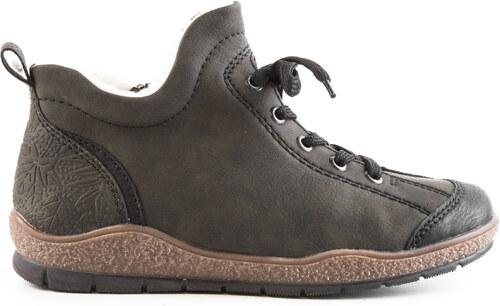 Rieker - Dámské zateplené boty ke kotníku se šněrováním a zipem šíře G  L6912-00 586c9d71f73