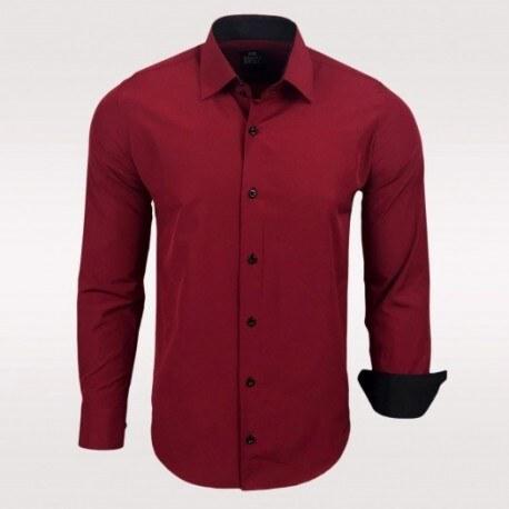 17b1e2b244e Pánská košile Slim Fit s dlouhým rukávem Rusty Neal vínová Rusty Neal