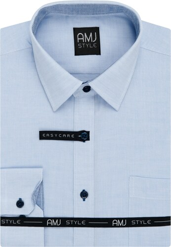 769d236a0e6 AMJ Pánská košile světle modrá síťovaná VDSR883