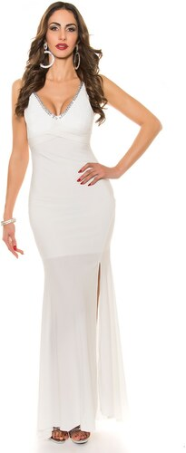 Strikingstyle Spoločenské šaty s čipkou a mašľou   biele - Glami.sk 64b89420b93