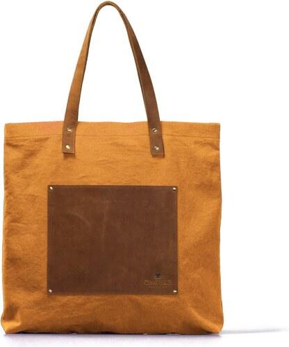Žluto-hnědá kožená vintage maxi taška O My Bag Lou s - Glami.cz 06d6f9faca3