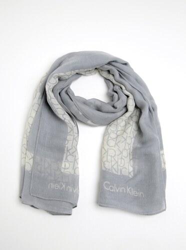 ad73c2f034c Krémovo-šedý dámský vzorovaný šátek Calvin Klein Jeans Joyce - Glami.cz