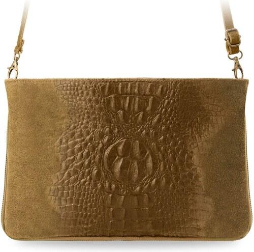 3cd2dd695a World-Style.cz Italská kožená kabelka psaníčko listonoška semiš krokodýlí  kůže camel