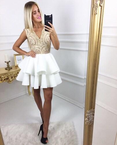 41482a5e627 Zlaté šaty s volánkovou sukní Chic - Glami.cz