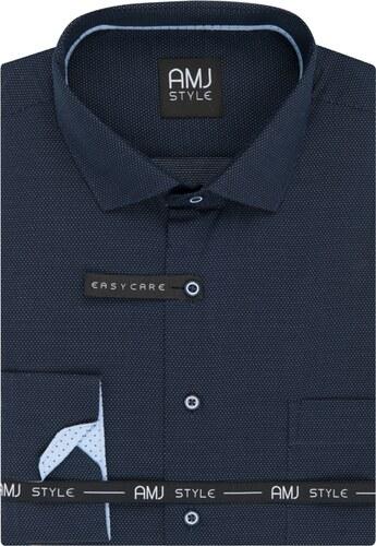 984257795cd AMJ Pánská košile tmavě modrá puntíkovaná VDSR944