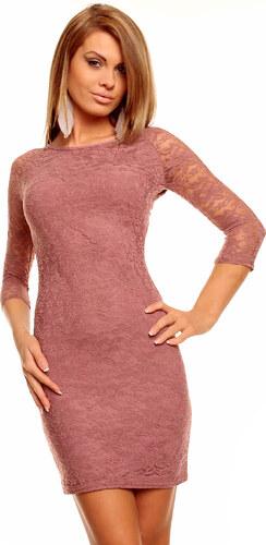 10e8f473a40c Dámské společenské šaty MAYAADI krajkové s 3 4 rukávem krátké starorůžové