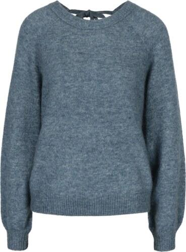 f7f9ce6cd18e Modrý melírovaný vlnený sveter s prímesou mohéru Selected Femme Kaila