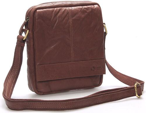 Pánska hnedá prešívaná kožená taška - SendiDesign Bris hnedá - Glami.sk 60a688864e9