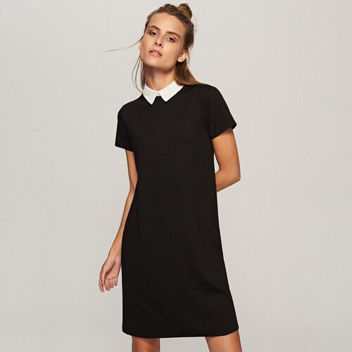 16348bb8feef Reserved - Elegantné šaty s bielym golierom - Čierna - Glami.sk