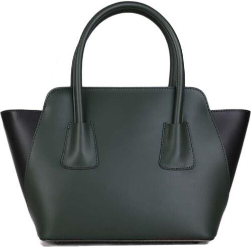 TALIANSKE Talianska kožené kabelky cez plece zelená s čiernou Klaudia 21a4d3320ca