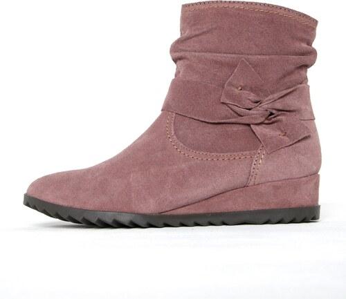5df9ce0678ee Staroružové semišové členkové topánky na nízkom klinovom podpätku Tamaris