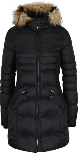 Čierny dámsky prešívaný kabát s kapucňou s umelou kožušinou Cars Sabine 0a3d198f4c4