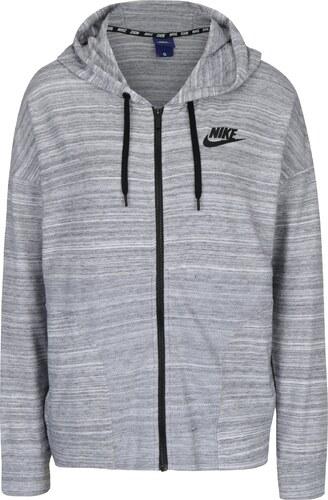 7b9e6827f77 Světle šedá dámská žíhaná mikina s kapucí Nike Sportswear Advance 15 ...