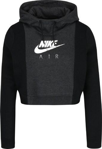 aeac226a30 Čierno-sivá dámska crop mikina s potlačou Nike Sportswear Rally ...