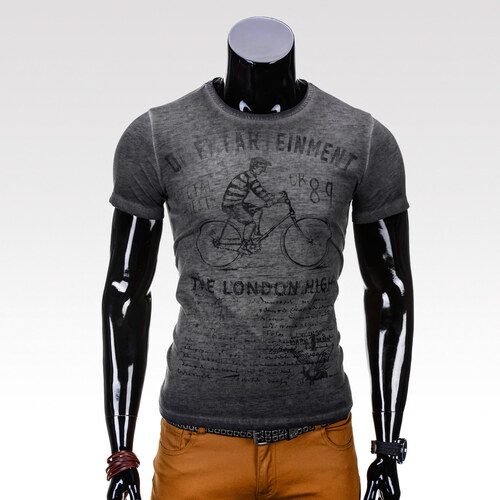 Ombre Clothing Férfi mintás póló Cycling szürke - Glami.hu 6493cf7142
