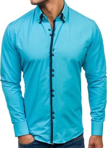 Tyrkysová modrá pánská elegantní košile s dlouhým rukávem Bolf 1721 ... 72bdae8c6c