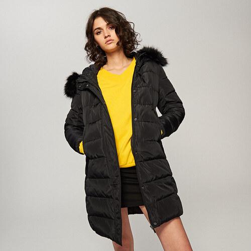 Reserved - Steppelt kabát szőrmés kapucnival - Fekete - Glami.hu 1ae041dc8e