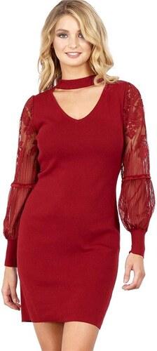 BLUE VANILLA Vínové pletené bodycon šaty JUDE s krajkovými mesh rukávy 27f90f8bf4