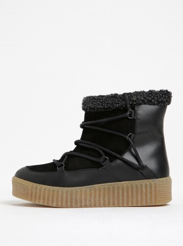 Čierne zimné kožené členkové topánky s kožušinkou Pieces Paccia ... f5376706ee3