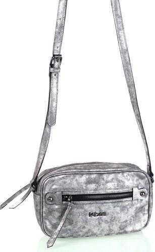 0b93924d53 Dámska kabelka cez rameno eko koža Kbas s metalickým odleskom strieborná