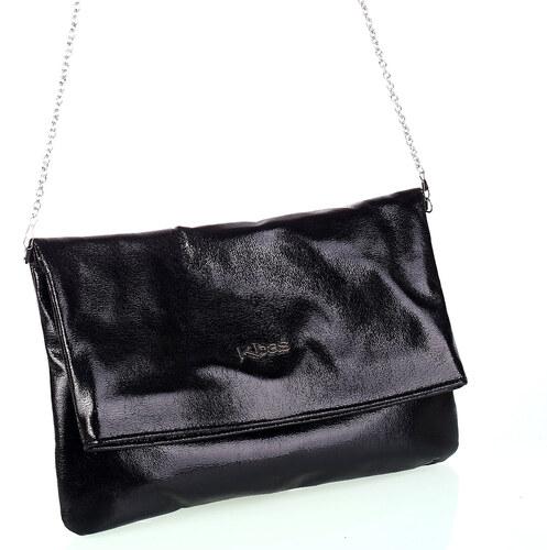Dámska kabelka s retiazkou cez rameno z eko kože Kbas metalický odlesk  čierna bf514082820