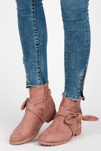 164738cc389e IDEAL Dokonalé ružové členkové topánky s mašľou - Glami.sk