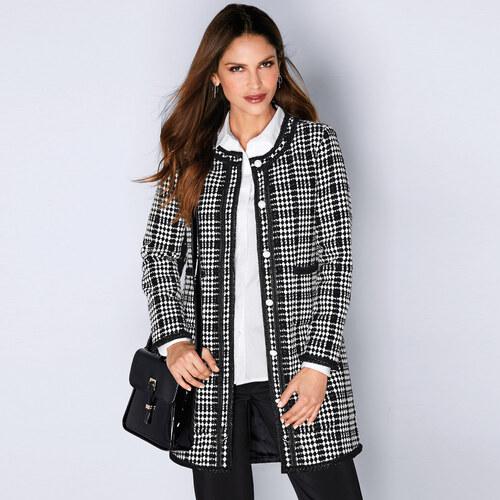 4eae633530 VENCA Dvojfarebný kabát s kontrastnou lemovkou prírodná čierna 36 ...