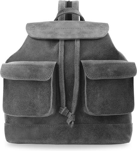 d1b6162034b Kožený batoh na jedno i na obě ramena oldschool styl vintage a-art šedý