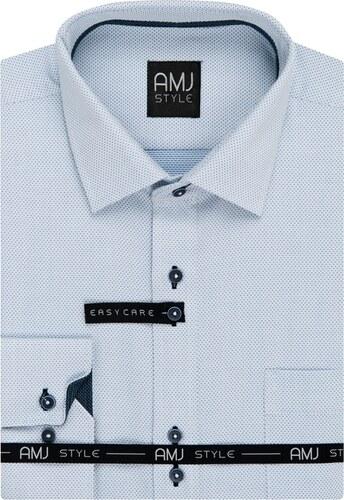 8553ff7533e AMJ Pánská košile bílá puntíkovaná VDSR935
