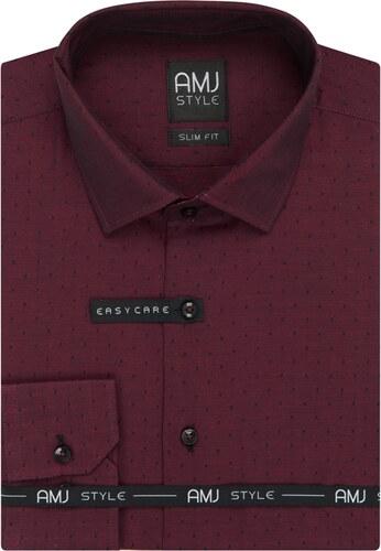 60d394b46d5 AMJ Pánská košile vínová puntíkovaná VDSR926