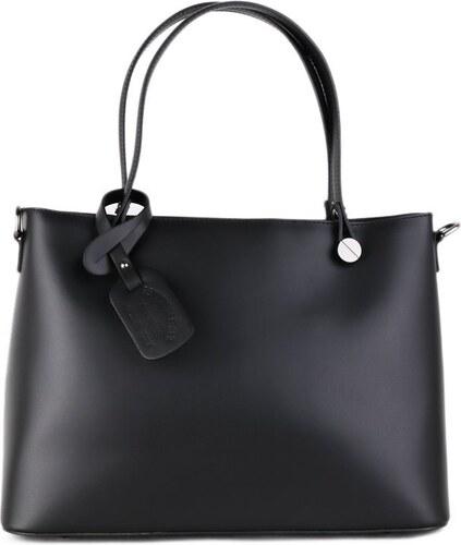 TALIANSKE Talianska kožená kabelka do ruky a na plece Vera Pelle čierna  Marita veľká 60b26765406