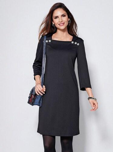 a0104967bcc9 VENCA Krátke šaty s 3 4 rukávmi a gombíkmi čierna S - Glami.sk
