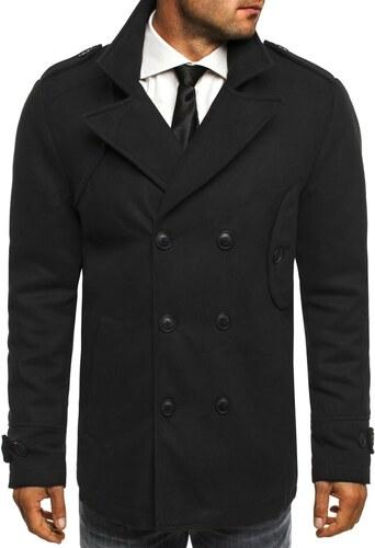 Čierny kabát s dvojradovým zapínaním J.STYLE 3118 - Glami.sk 10d298b1376