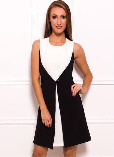 a596617d1119 Glam Dámské elegantní šaty černo - bílé s knoflíkem - Glami.cz