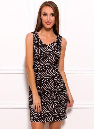 Due Linee Dámské elegantní šaty na široká ramínka béžovo - černé ... dde6e8129d