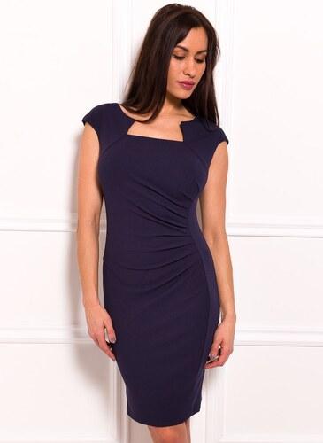Glamorous by Glam Dámske elegantné šaty so zaujímavým dekoltom a riasením -  tmavo modrá 0229918f002