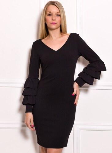Glamorous by Glam Dámske luxusné šaty s dlhým rukávom a volánmi - čierna 23c1b0cc598