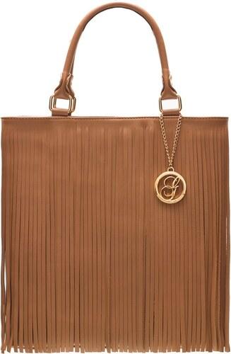 a0c44f2656f4 Glamorous by Glam Dámska kožená kabelka so strapcami - matná hnedá ...