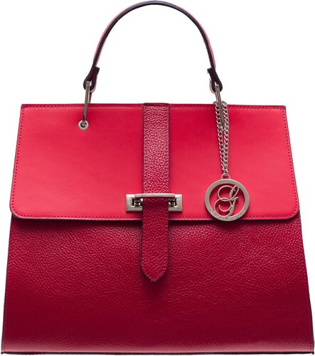 Glamorous by GLAM Dámská luxusní kabelka do ruky stříbrné zapínání - červená c174390957