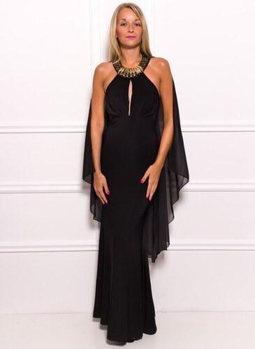 Due Linee Společenské dlouhé šaty se zdobením kolem krku a šálem - černá 2a71f44f5a
