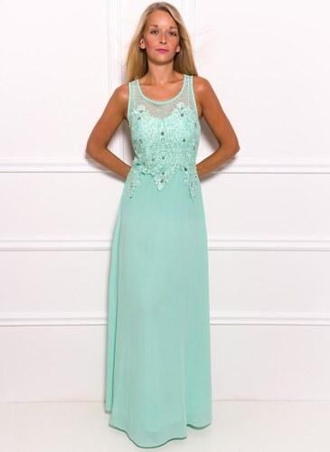 ac7b58f7b125 Due Linee Společenské dlouhé šaty s jemnými kamínky - světle zelená ...