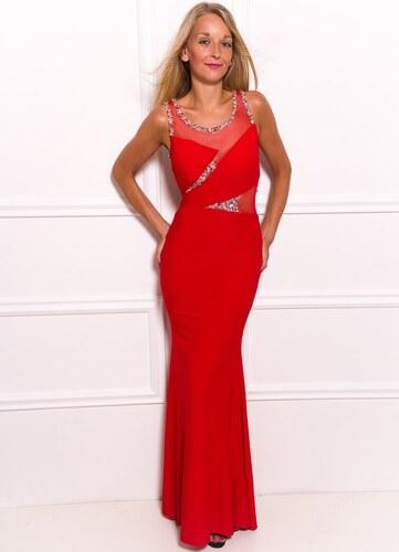 Due Linee Společenské dlouhé šaty s korálky a flitry - červená ... a19f2b685c