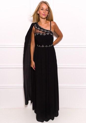 Due Linee Společenské dlouhé šaty na jedno rameno s černým zdobením - černá df043f0c7a